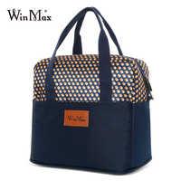 Bolsa térmica Winmax de moda con estampado de puntos amarillos, bolsa de viaje para comida, Picnic, bolsa térmica para hombres y mujeres