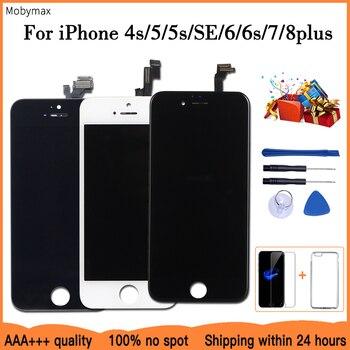 Перейти на Алиэкспресс и купить ЖК-дисплей для iPhone, сменный сенсорный экран для iPhone 6 7 8 6S Plus iPhone 5 5C 5S SE, без мертвых пикселей + закаленное стекло + инструменты + ТПУ
