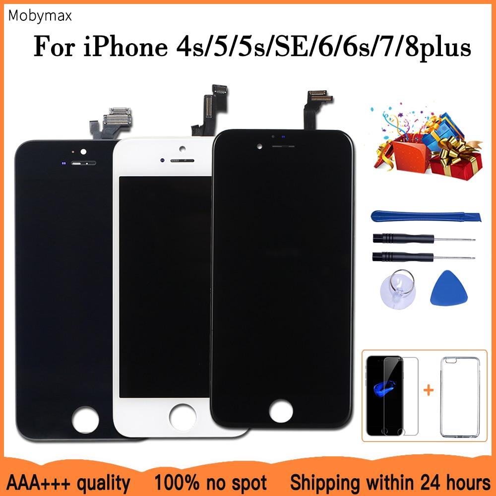 AAA + + + LCD 디스플레이 아이폰 6 7 8 6S 플러스 터치 스크린 교체 아이폰 5 5C 5S SE 죽은 픽셀 + 강화 유리 + 도구 + TPU