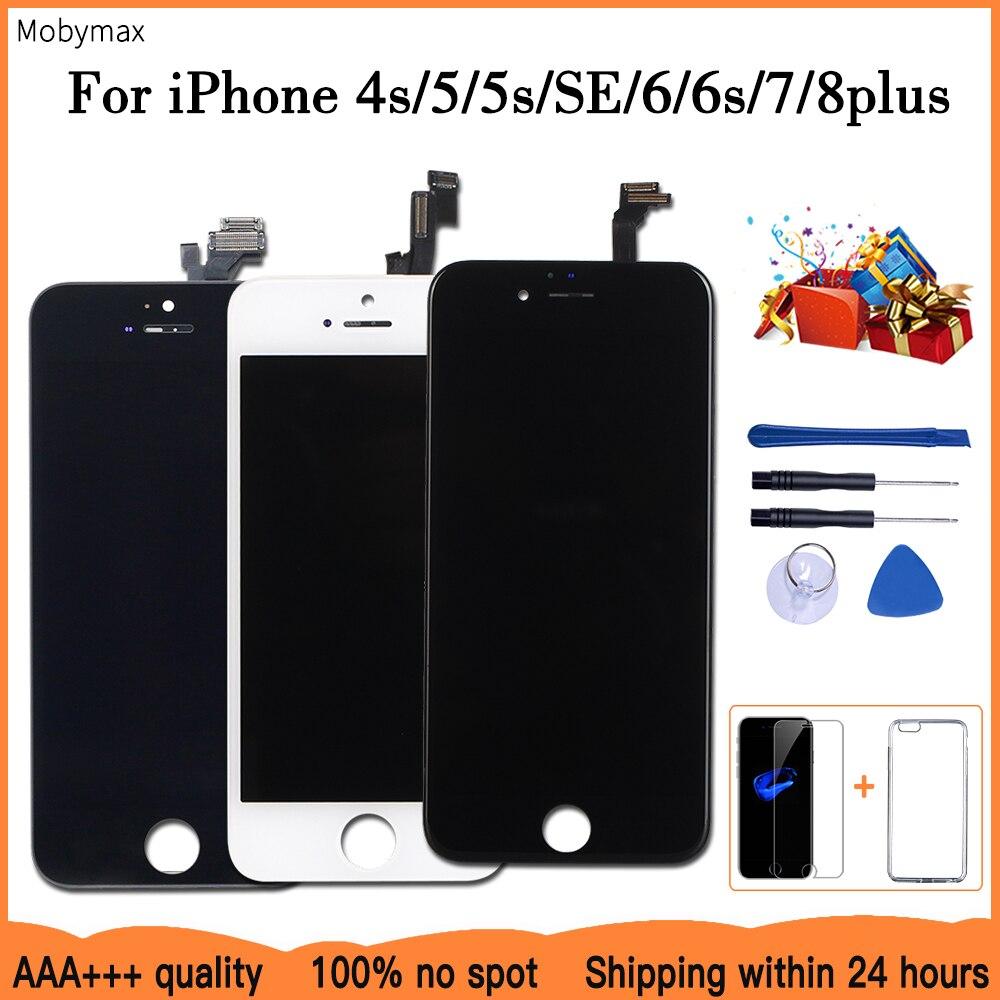 AAA + + + lcd ekran iPhone 6 için 7 8 6S artı dokunmatik ekran değiştirme iPhone 5 için 5C 5S SE yok ölü piksel + temperli cam + araçları + TPU