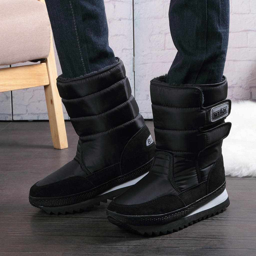JAYCOSIN Men's Snow Boots  Platform Mid-Calf Lined Waterproof Snow Boots Winter Big Size Army Boot Male Shoes Safety Warm #45