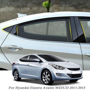 8pcs Car Styling For Hyundai Elantra Avante MD/UD 2011-2015 Window Trim Sticker Middle Column Stickers PVC Auto Accessories