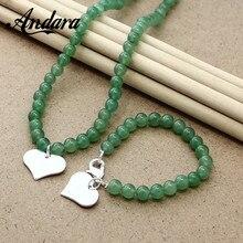 Jewelry-Set Bracelet Necklace Pendant Wedding-Engagement 925-Sterling-Silver Green Women