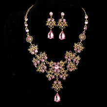 KMVEXO Crystal Wedding Bridal Jewelry Sets for Women Banquet Dress Accessories Red Green Blue Rhinestone Necklace Earrings Set(China)
