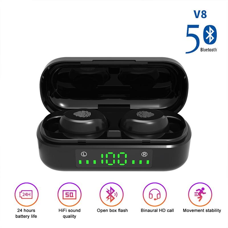 AIRVOLT V8 наушники-вкладыши TWS с Беспроводной наушники Bluetooth 5,0 9D бас стерео Водонепроницаемый наушники Handsfree гарнитура С микрофоном зарядки