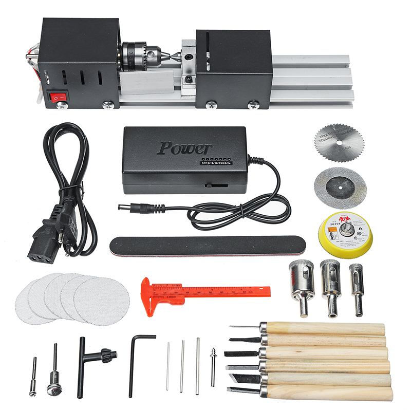 Image 5 - 200W CNC Mini Lathe Machine Tool torno DIY Woodworking Wood lathe Milling machine Grinding Polishing Beads Drill Rotary Tool Set-in Lathe from Tools