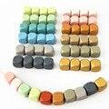 DIY 10 мм 50 шт. деревянные бусины квадратный Куб Красочные бусины для ожерелья подходят для изготовления ювелирных изделий из натурального де...