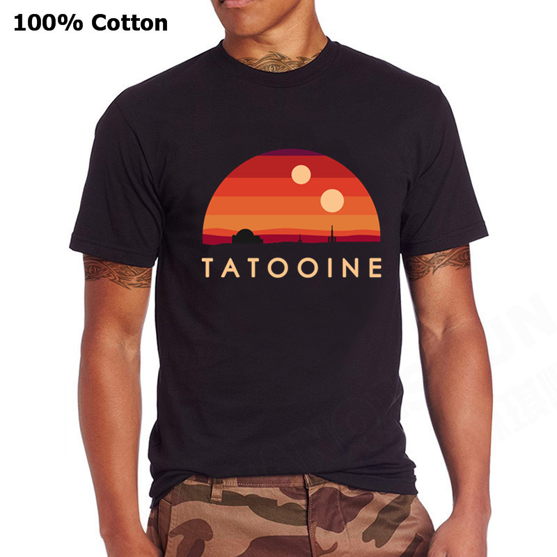 Visit Tatooine Star Retro Wars T-Shirt Crew Neck Pure Cotton Men's Short Sleeves Tee Shirt Vintage Style Simple Plus Size Tshirt