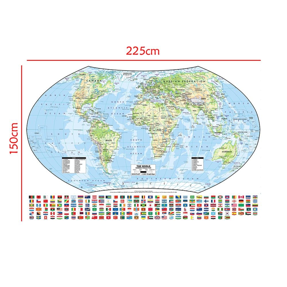 The World Hammer Projection Map With National Flags Non-woven Foldable World Map For Geographic Research