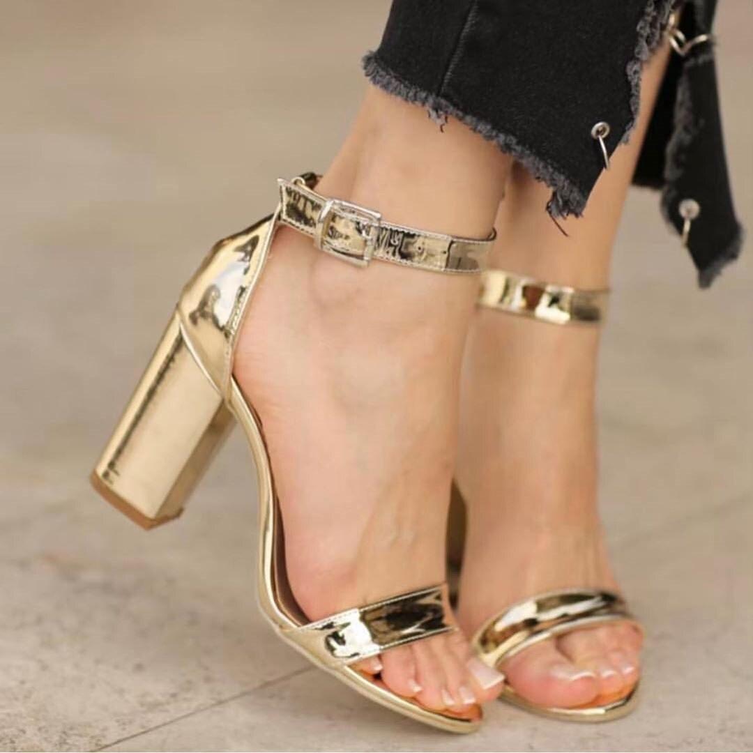 Mst-037 or miroir à bout ouvert à talons hauts femmes pompes chaussures dames chaussures de fête talons de mariage