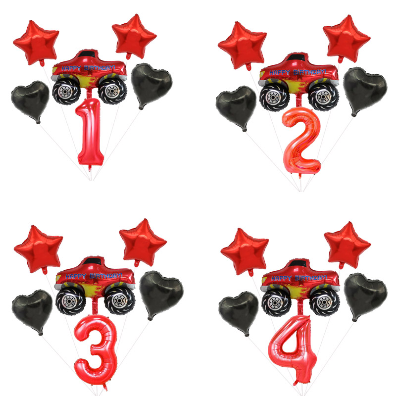 Blaze Monster Machines Theme Number Balloons Set Happy Birthday Boys Favors Flags Party Decorations Baby Shower Party Events