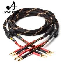Одна пара ATAUDIO HIFI кабель для динамика, высококачественный усилитель 4n OFC, кабель для динамика с банановым штекером