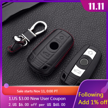 Leather Car key Cover Cases For BMW 1 3 5 6 7 SERIES X1 X5 X6 E90 E92 E93 Smart Car Remote Controller Key Holder with KeyChain