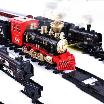 Conjunto de juguete Retro con luz eléctrica, adornos para tren con pista eléctrica de vía férrea, Conjunto Clásico de juguetes para niños, regalos de Navidad y Año Nuevo