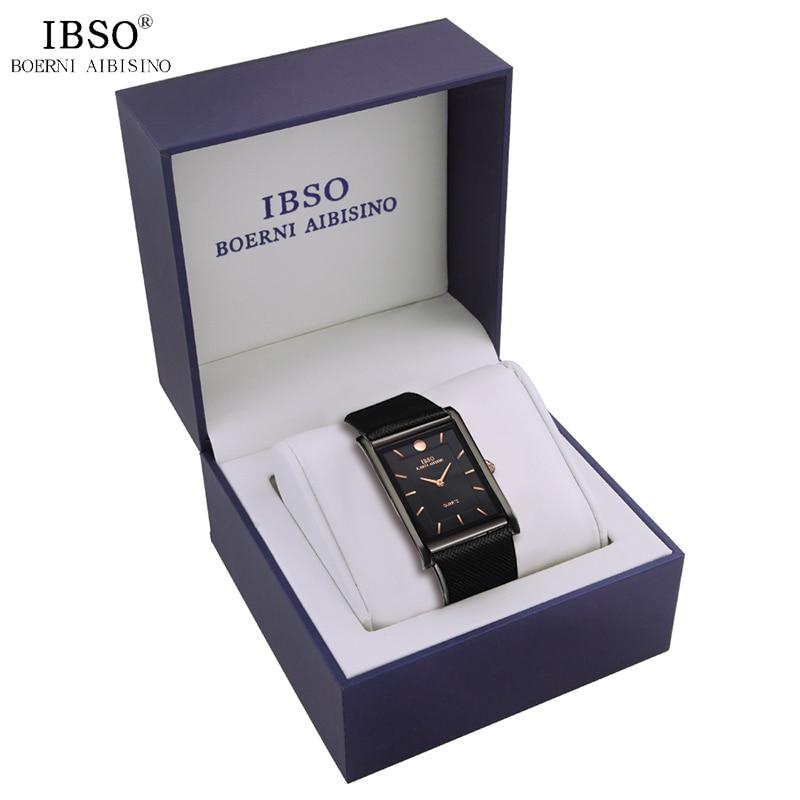 IBSO Brand Men's Watch Set with Blue Box Business Rectangle Quartz Wristwatch for Man Clocks Relogio Masculino  Dropshipping