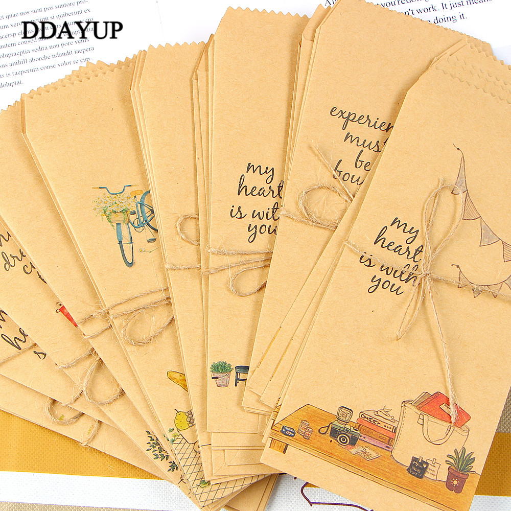 10Pcs/lot Kraft Paper Envelope Cute Cartoon Child Daily Left Wedding Invitation Gift Envelopes Letter Stationery