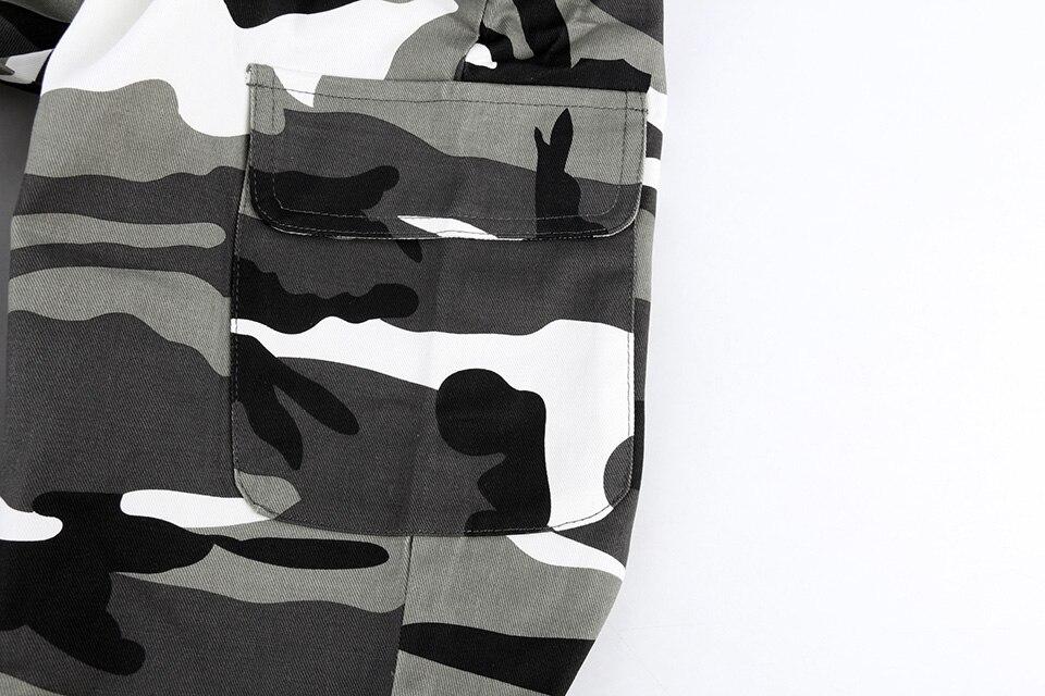 Calças militares calças femininas camuflagem corredores casuais