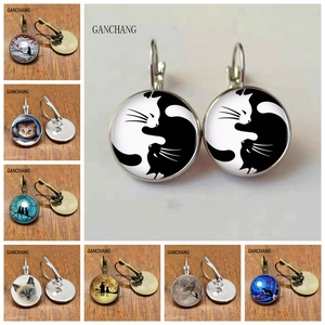 Glass black and white two cat earrings women's fashion earrings, private custom 2019/2020 New Jewelry Jewelry Silver/Bronze(China)