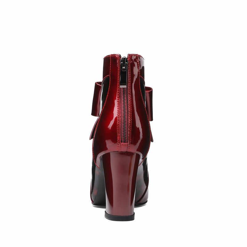 ANNYMOLI Echt Leder Stiefeletten Frauen Natürliche Echte Leder Bogen Block High Heel Kurze Stiefel Zip Spitz Schuhe Weibliche 39
