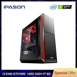 IPASON Intel 4-Core Gaming PC i3 8100 ultime Gen Scheda Dedicata 1650 4G DDR4 8G di RAM 1 T + 120 GSSD Desktop Del Computer