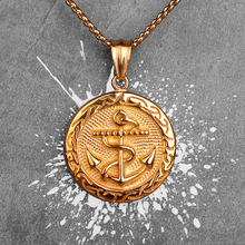 Gold Anchor Medals Long Men Necklaces Pendants Chain Punk for Boyfriend Male Stainless Steel Jewelry Creativity Gift Wholesale