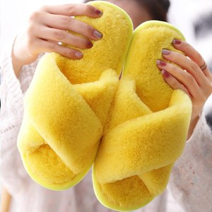 Women Winter House Slippers Faux Fur Fashion Warm Shoes Woman Slip On Flats Female Slides Black Pink Cozy Home Furry Slippers