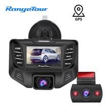 Faixa de turismo carro dvr condução gravador vídeo traço cam gps 24 horas estacionamento frente e traseira câmera completa hd 1080p + 480p visão noturna