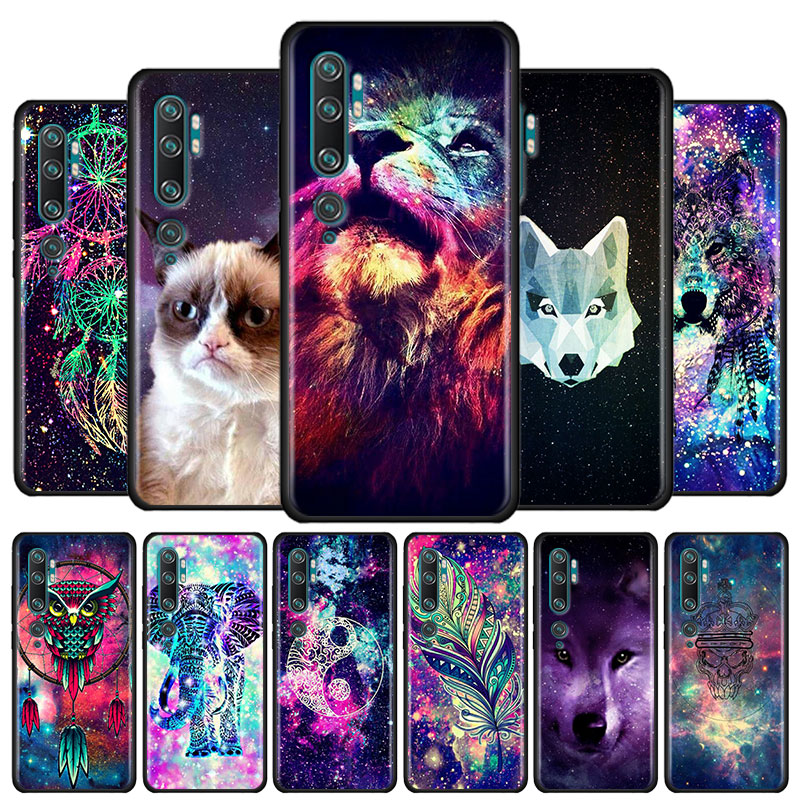 Space Tribal Wolf owl Black tpu case for Xiaomi Mi 10 Pro 9 9T 10 A3 A2 Lite 8 Lite Note 10 Pro cc9 cc9e Poco X2 F2 Pro Cover(China)
