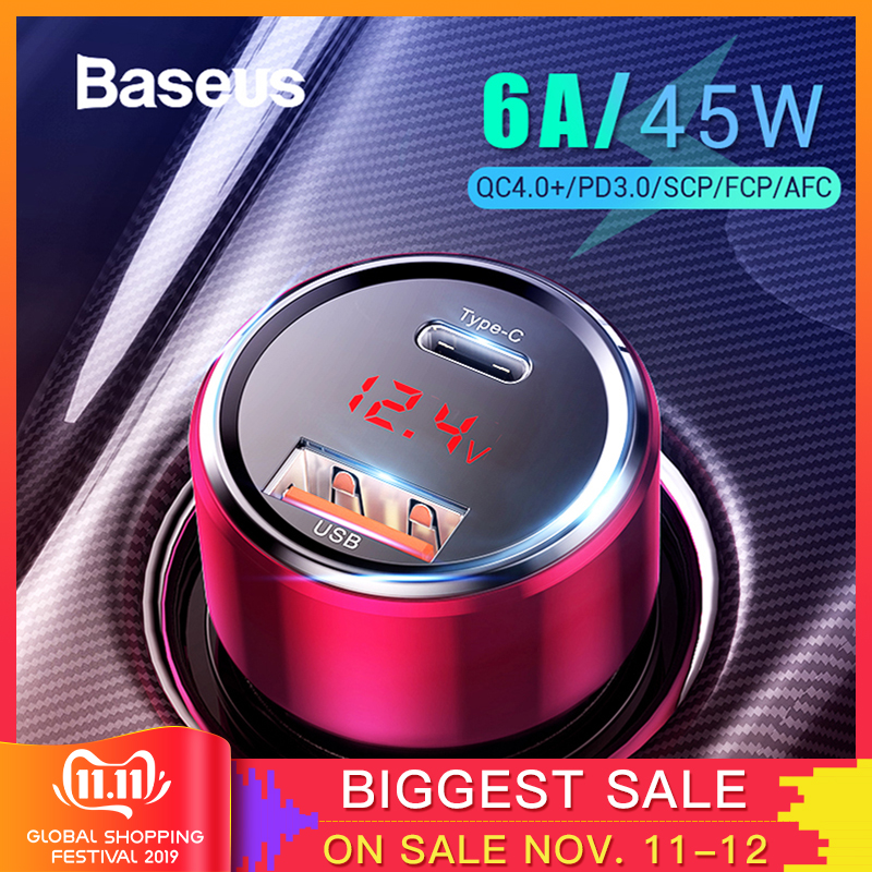 Baseus 45W Quick Charge 4.0 3.0 USB Car Charger for Xiaomi Mi Huawei Supercharge SCP QC4.0 QC3.0 Fast PD USB C Car Phone Charger