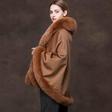 Winter Women's Clothes Real Wool Shawls Luxury Fox Fur Collar Sheep Fur Capes Ladies Party Wraps New Fashion Warm Coats Female(China)