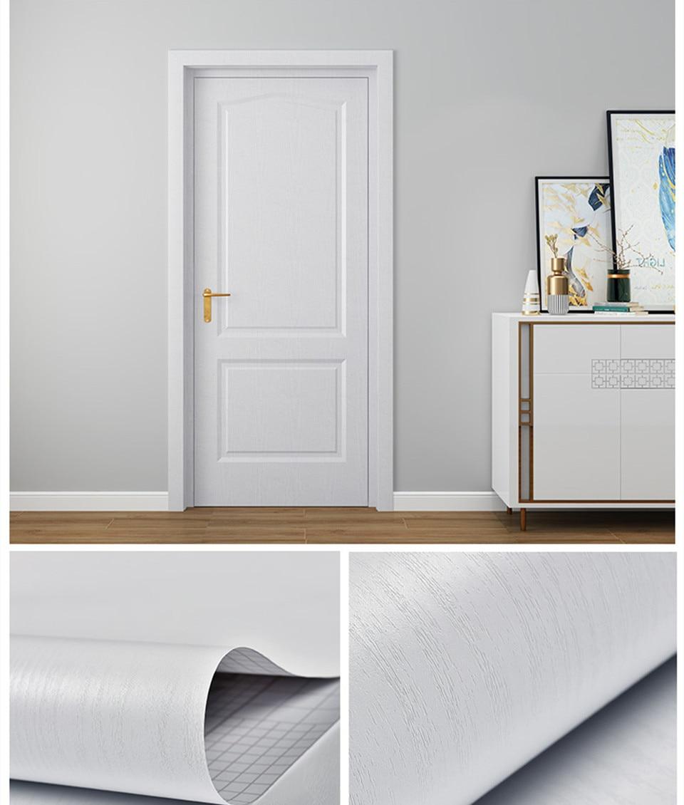 90x210cm White PVC Door Wallpaper Wood Grain Sticker Home Decor Self-adhesive Waterproof Mural Furniture Door Decoration Decals