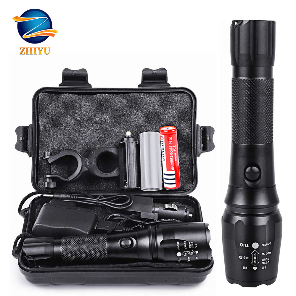 ZHIYU Rechargeable Tactical Flashlight LED Torch 18650 4200mAh Battery L2 Waterproof Big Torch Portable Adjustabl Camping Light