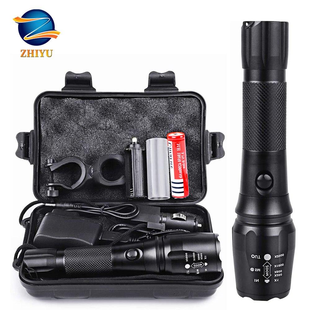 ZHIYU Rechargeable Tactical Flashlight LED Torch 18650 4200mAh Battery L2 Waterproof Big Torch Portable Adjustabl Camping Light