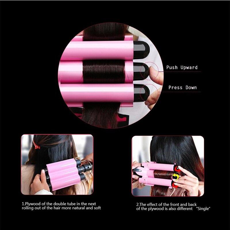 curling ferro rosa cabelo crimper ferro ferramentas