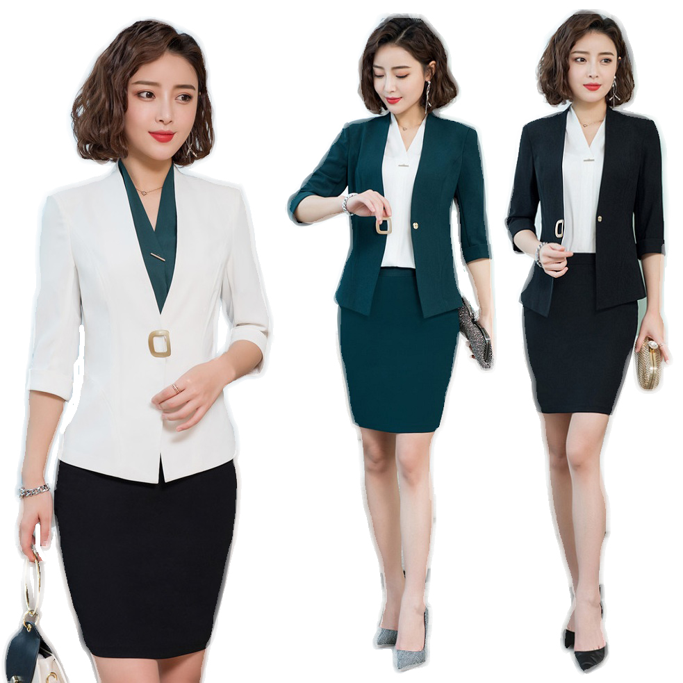 New 2020 White Blazer For Women Skirt Suits Business Work Wear Sets Half Sleeve Jacket Sets Ladies Complete Office Outfit Women