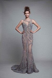 Image 3 - Illusion Crystal Sleeveless Floor Length Jewel Backless Mermaid Evening Dresses Luxurious Evening Gowns Sexy Prom Dresses