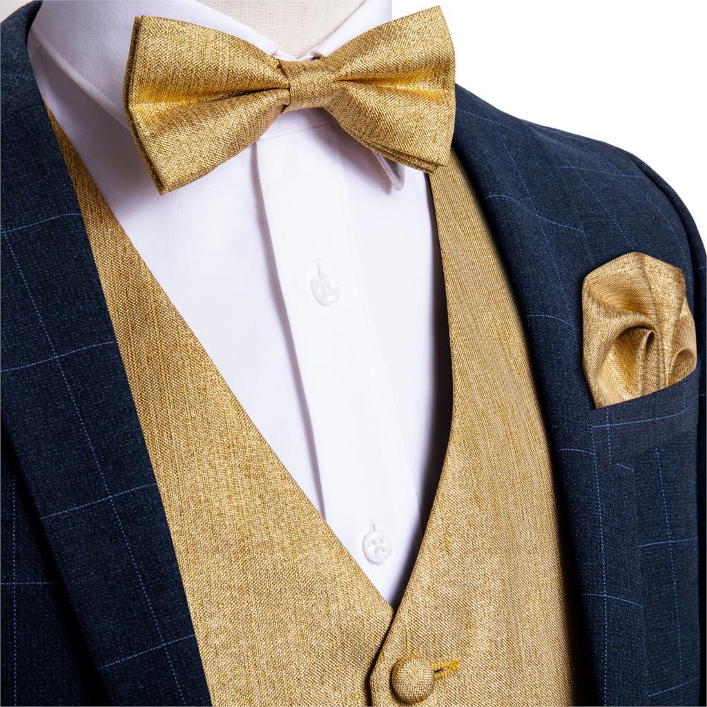 Men's Gold Solid Silk Fashion Wedding Waistcoat Vest For Men Bowtie Hanky Cufflinks Cravat Set For Suit Tuxedo DiBanGu MJ-122