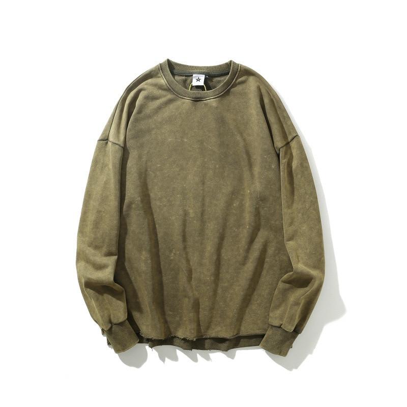 EWQ / Men's Wear High Street 2020 Spring New Round Collar Long Sleeve Sweatshirt Tide Vent Hem Vintage Loose Casaul Tops 9Y1301