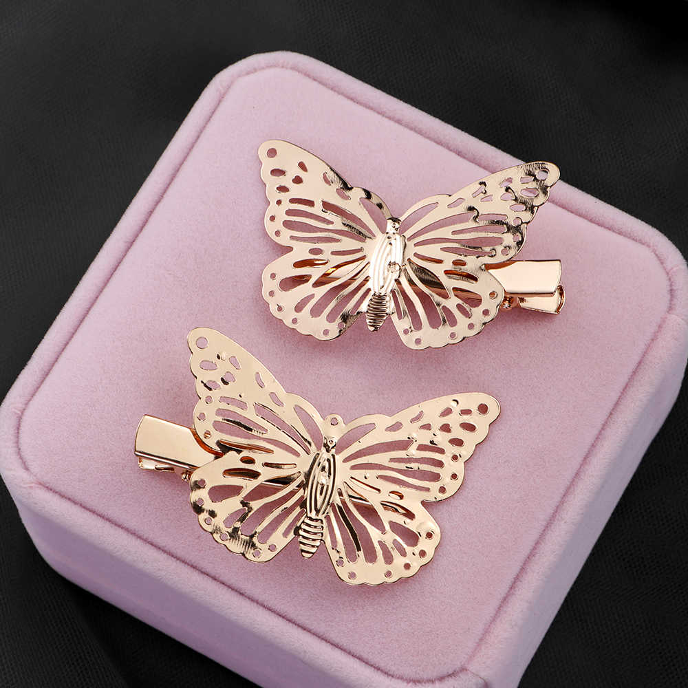 2PCS Vintage Hair Clips Metal Butterfly Hairpins Gold Bridal Headpiece Bobby Pins Headdress Jewelry Styling Accessories Tools