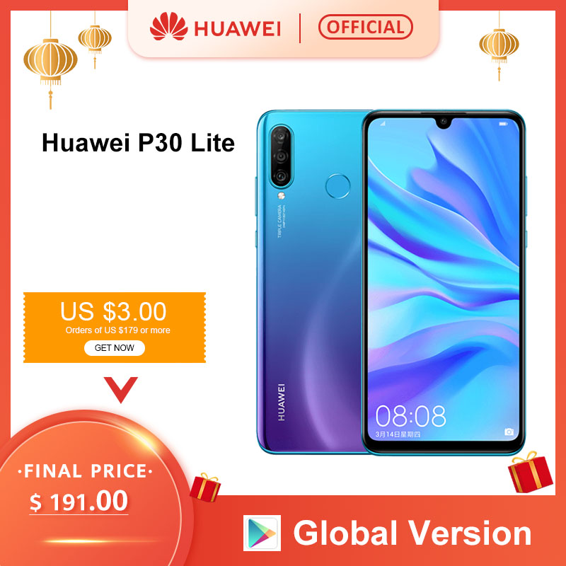 Global Version <font><b>Huawei</b></font> <font><b>P30</b></font> <font><b>Lite</b></font> 4GB 128GB <font><b>Smartphone</b></font> 6.15 inch Kirin 710 Octa Core Mobile Phone EMUI Android 9.0 CellPhone image