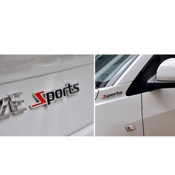 3D Word Sports Letter Chrome Metal Car Sticker Emblem Badge Decal Auto Decoration Sticker image
