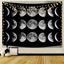 The Moon Wall Hanging Tapestry Night Sky Psychedelic Wall Cloth Tapestry Mandala Boho Carpet Yoga Mat Hippie Tapestry Home Decor cityscape printed mandala tapestry wall hanging home bed decor hippie polyester letter motto tapestry beach throw towel yoga mat
