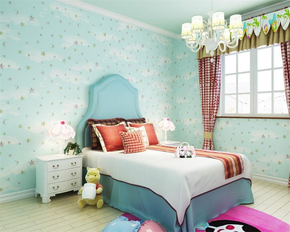 Chambre Enfant Bleu Et Rose €18.91 41% de réduction beibehang profond en relief rose bleu ciel blanc  nuages étoiles papel de parede papier peint enfants chambre bébé chambre