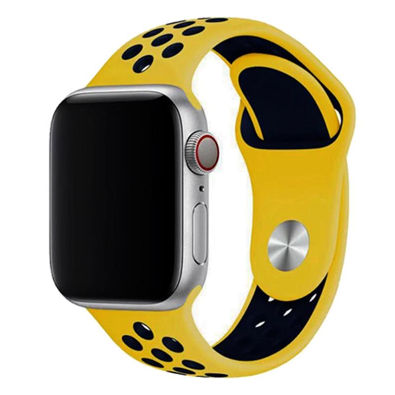 Спортивный ремешок для apple watch band 44 мм/40 мм apple watch 5 4 3 band iwatch band 5 42 мм/38 мм correa браслет ремень аксессуары для часов - Цвет ремешка: yellow deep blue