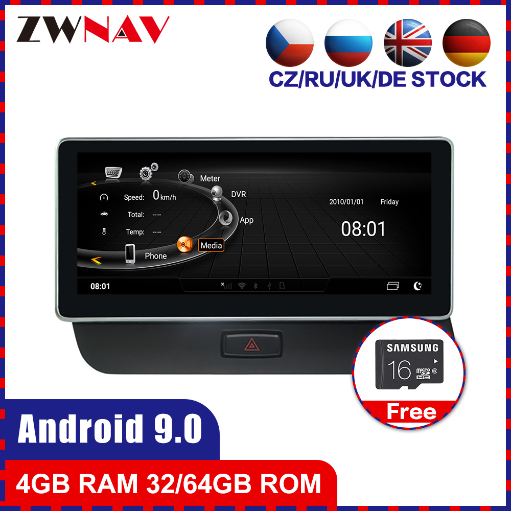 4+64G Touch Screen Android 9.0 Car Multimedia Player GPS Audio Navigation For AUDI Q5 2009-2015 Radio Video Stereo Wifi Free Map