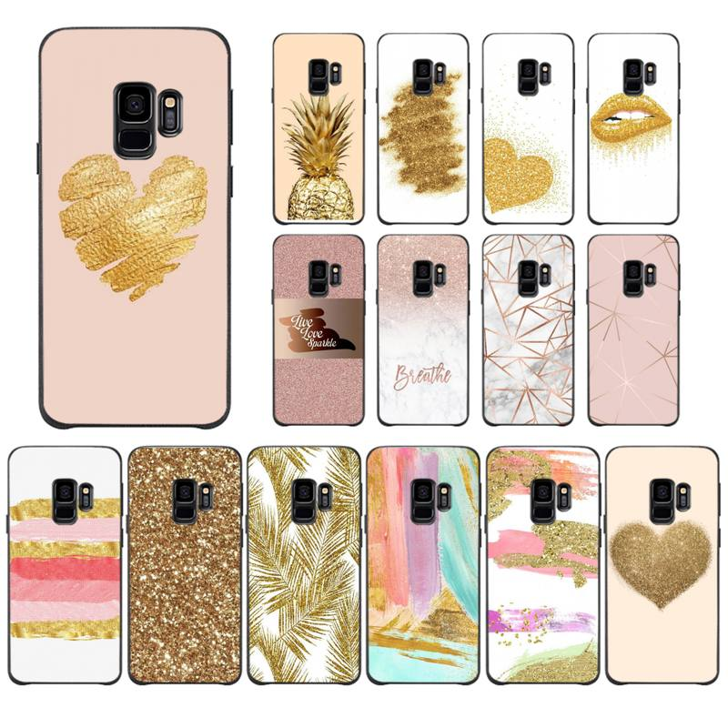 Gold Rose Glitter Love Phone <font><b>Case</b></font> For <font><b>Samsung</b></font> <font><b>Galaxy</b></font> <font><b>J200</b></font> J2 Prime J250 J4 Plus J415 J5 Prime J7 J737 J710 J7 Prime 2018 J8 J730 image