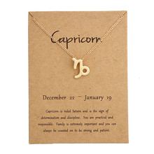 New 12 Constellation Capricorn Necklaces Pendant Virgo Necklace Birthday Gifts Message Card for Women Girl Jewelry