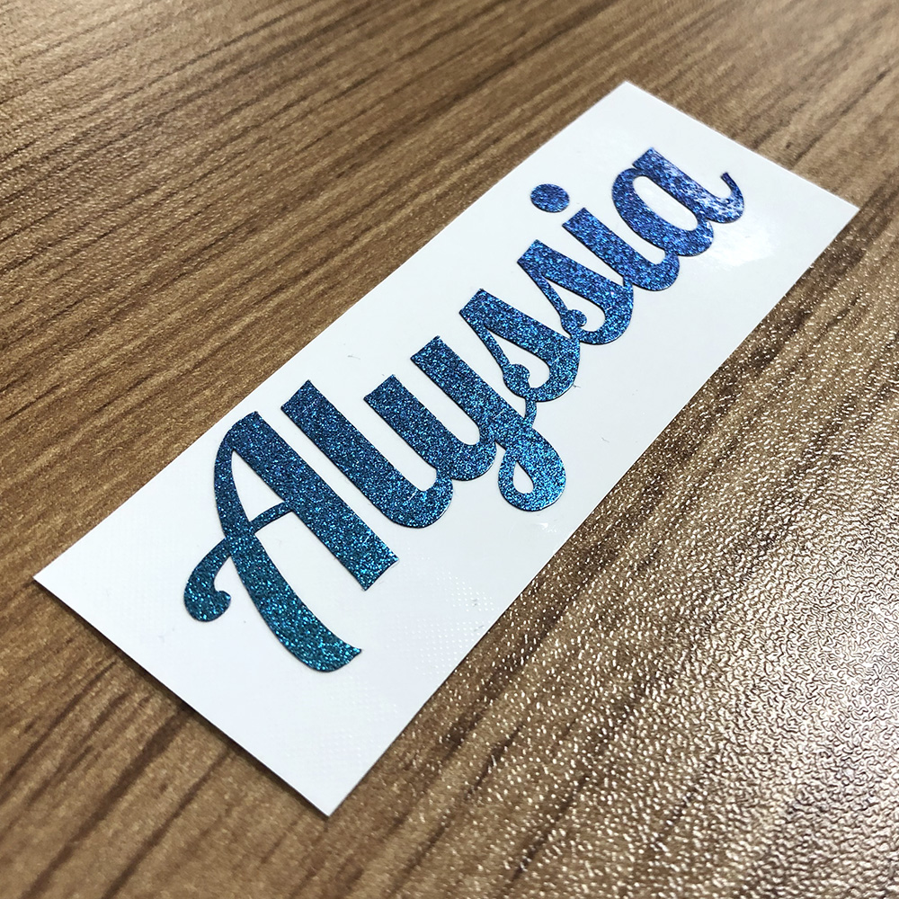 1Pcs Custom Cut Name Sticker Gradient Blue Color Personalised Vinyl Label Glitter PVC Waterproof Tag For Water Bottle Lanch Box