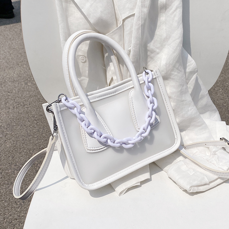 Candy Thick Acrylic Chain Design PU Leather Crossbody Bags For Women 2020 Solid Color Travel Transparent Shoulder Handbags