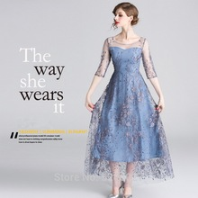 2019 spring and summer new banquet party women dress elegant temperament grenadine  embroidery long